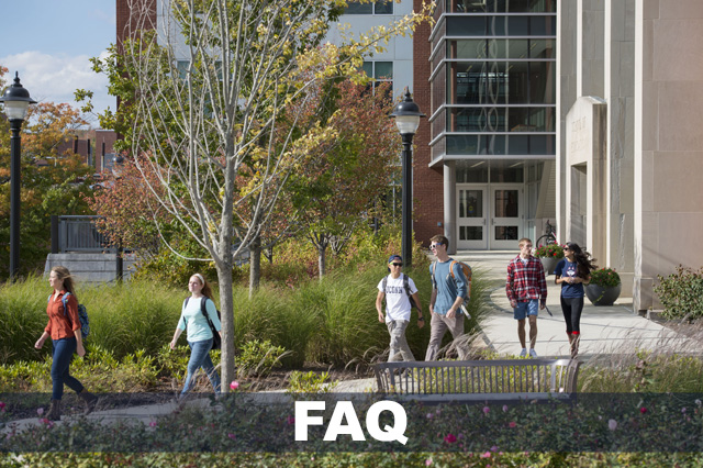 Campus view of students walking out of Gentry building.  Text reads: FAQ