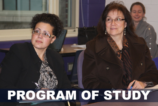 Two female students smiling during a UCAPP class. Text reads: PROGRAM OF STUDY