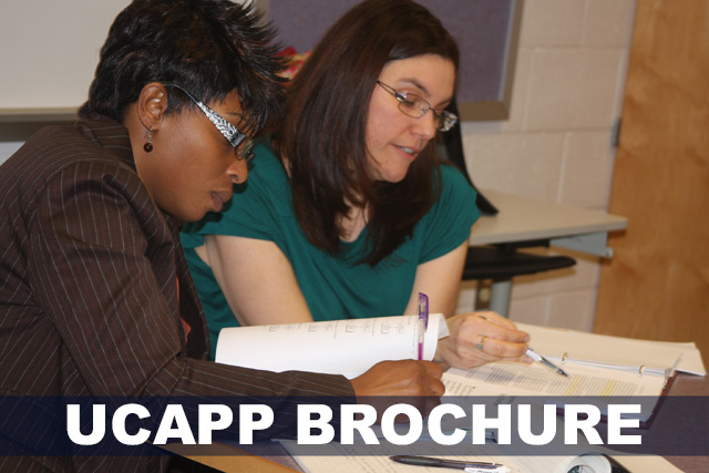 Two female students working together on a project. Text reads: UCAPP Brochure