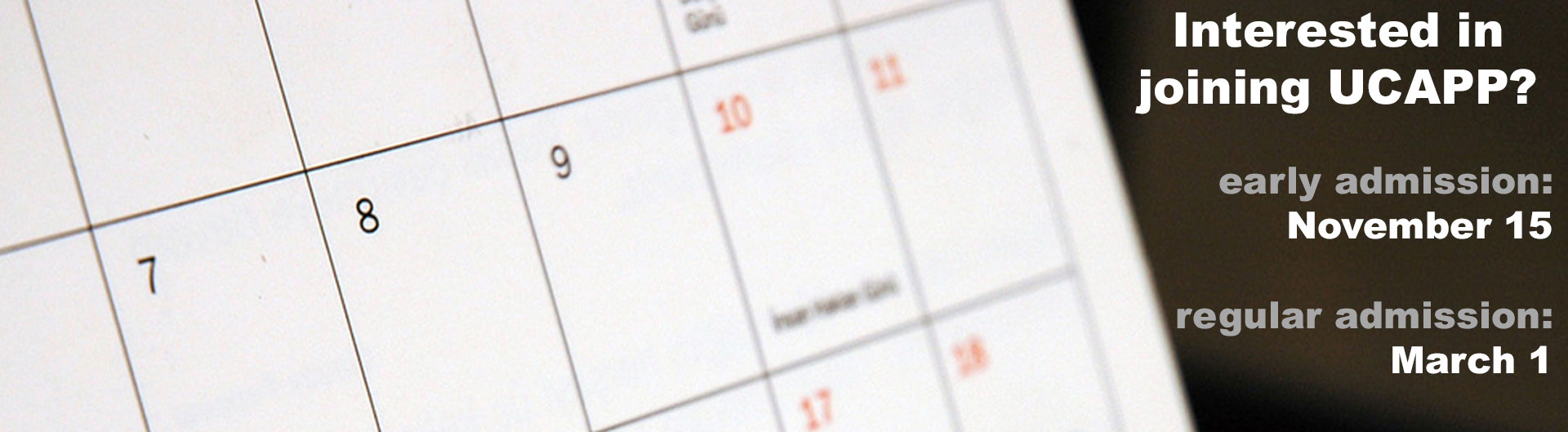 Calendar displaying UCAPP's admission deadlines